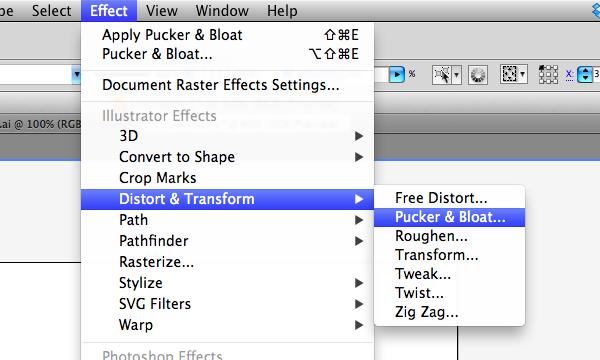 Pucker and Bloat in Adobe Illustrator