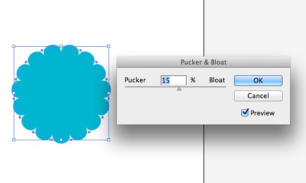 Settings for Pucker and Bloat in Adobe Illustrator