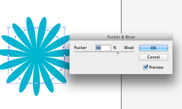 Large positive settings for Pucker and Bloat in Adobe Illustrator