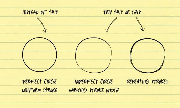 Perfect circles don't look hand-drawn. Try deliberately adding imperfections such as varying stroke width and repeated strokes.