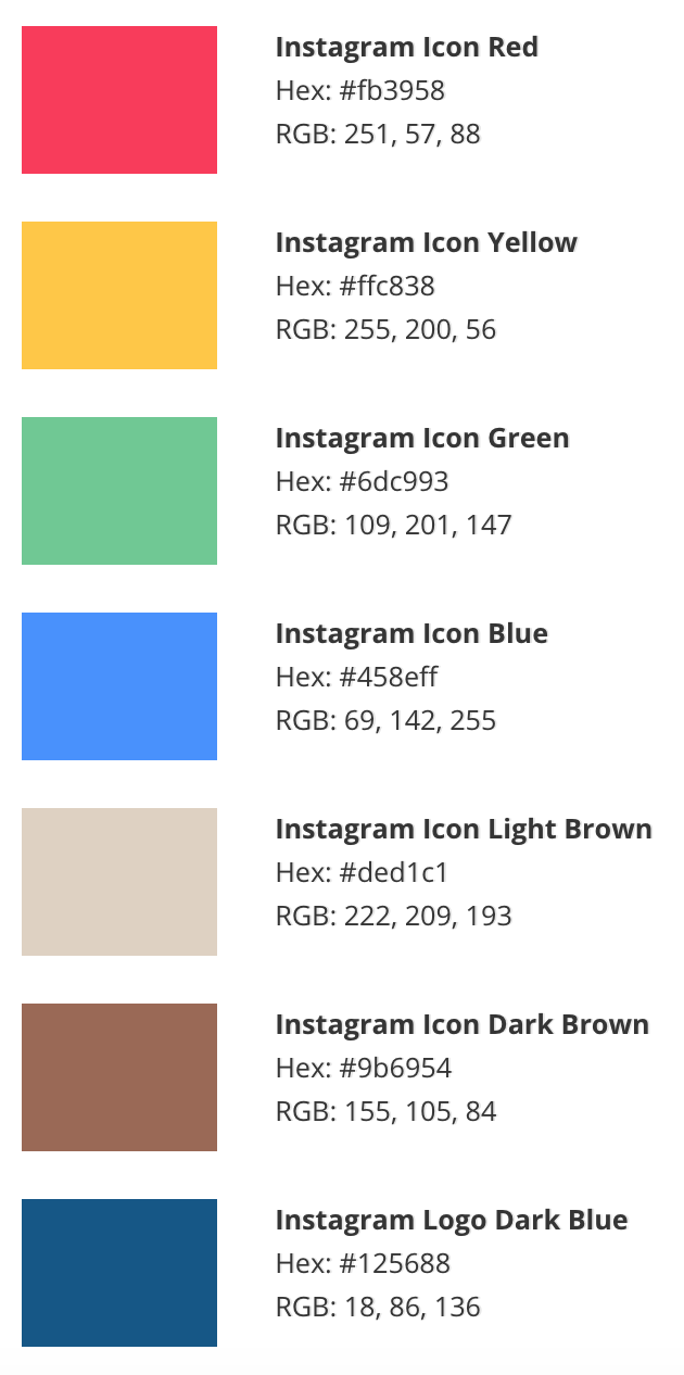 Instagram Colour Palette